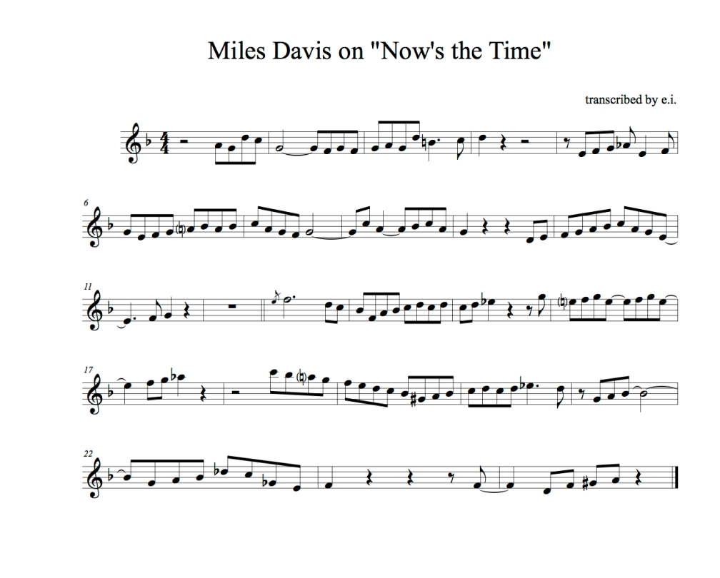 Miles on Now's the time
