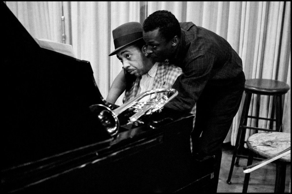 USA. NYC. 1958. Miles DAVIS with pianist Red GARLAND.