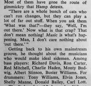 Hamp on bassists and drummer